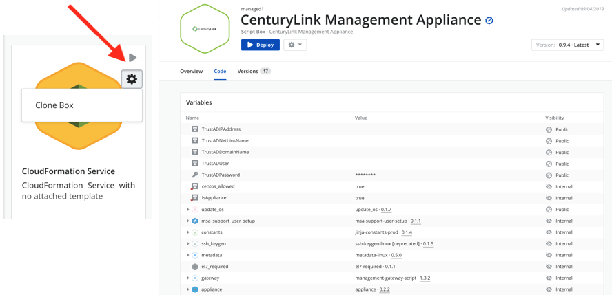 Cloud Application Manager catalog usage script