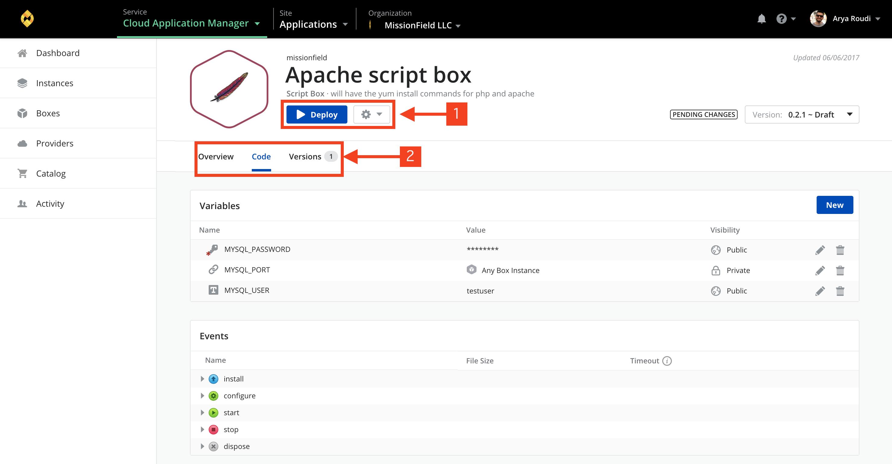 Box management page core concepts