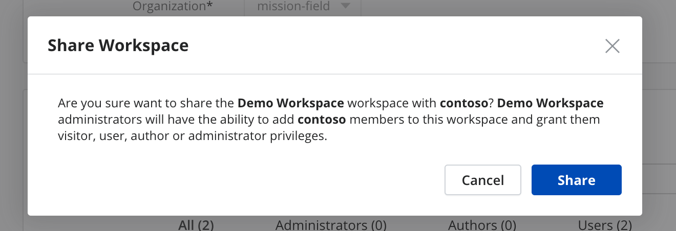 Confirm you want to share the team workspace