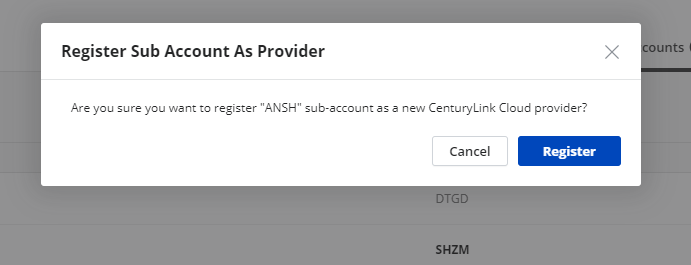 CenturyLink Cloud - Sub-Accounts