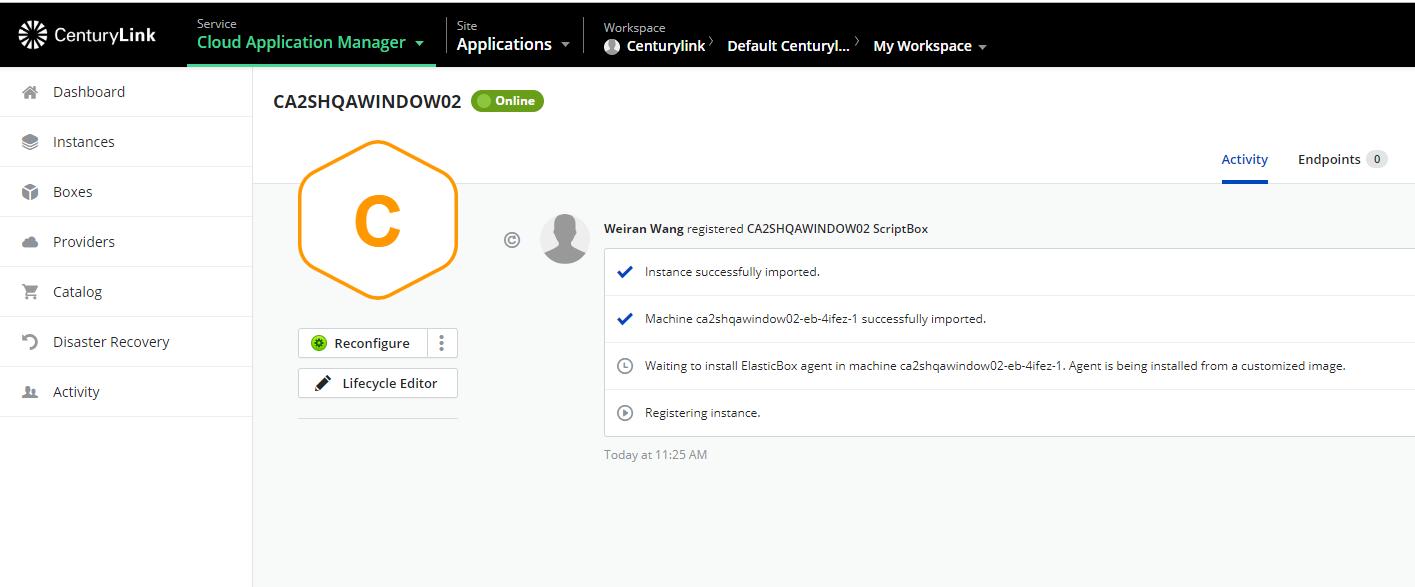 The new instance registered details