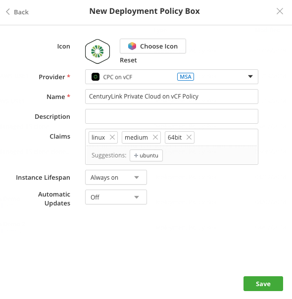 CenturyLink Private Cloud on VMware Cloud Foundation Policy Box