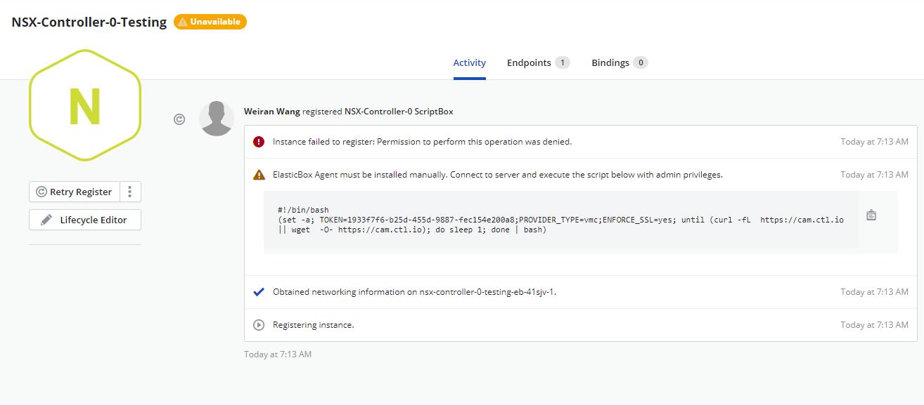 Script to register a vCenter instance
