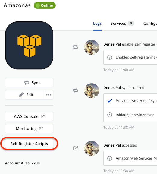 Self-register enabled in an AWS provider