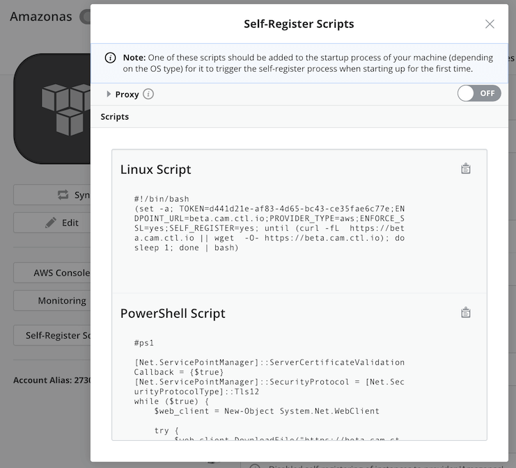 Self-register command snippets