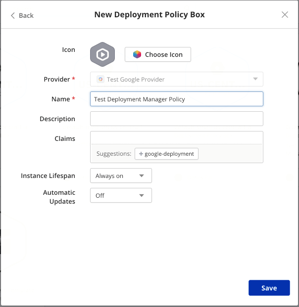New Google Deployment Policy Box dialog