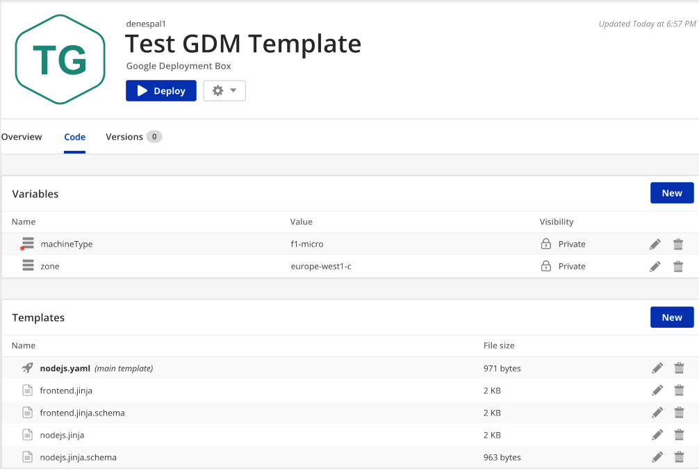 Google Deployment Manager Template Box