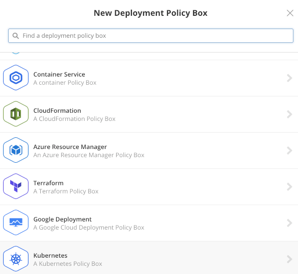 Creating a new Kubernetes Policy Box