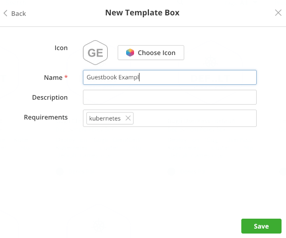 Details of a new Kubernetes Template Box