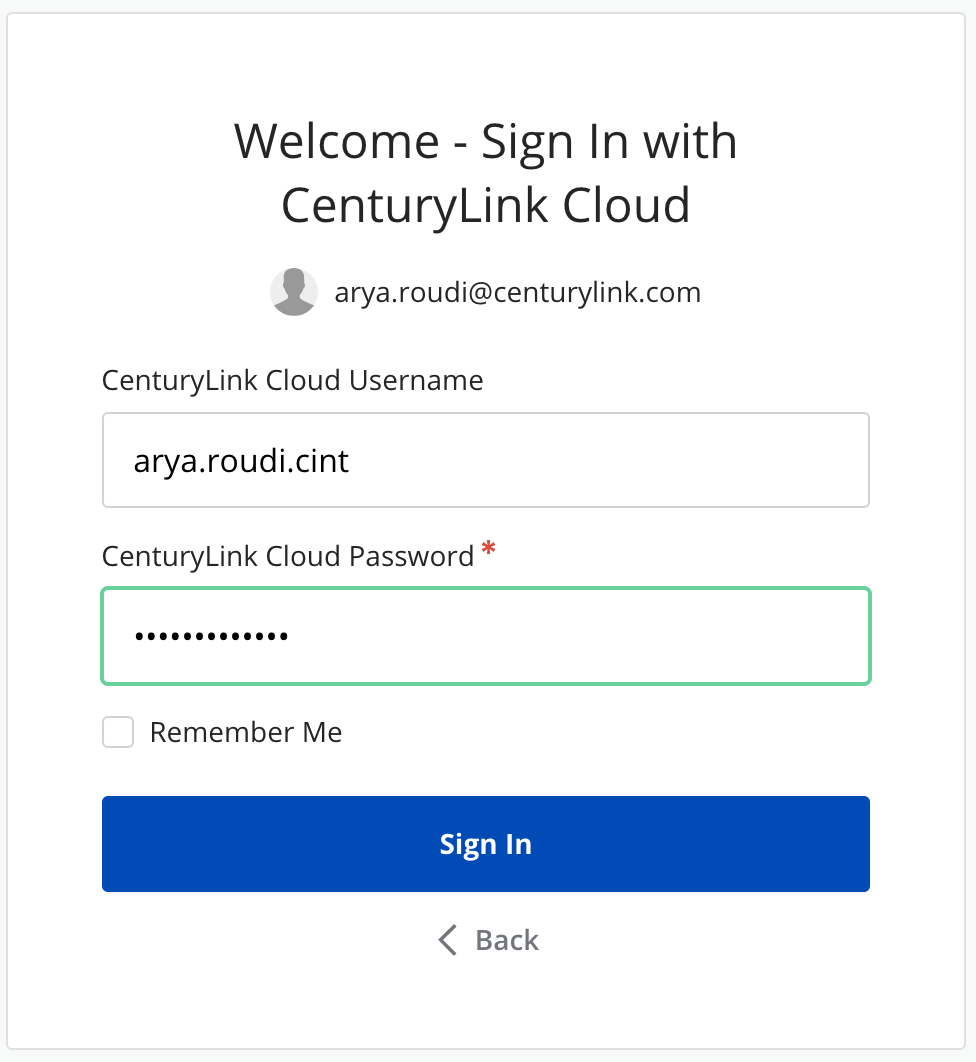 CenturyLink Cloud sign in