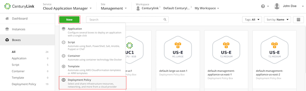 Microsoft Azure - Create new deployment policy