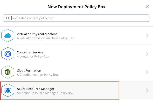 Microsoft Azure - Select ARM new deployment policy box