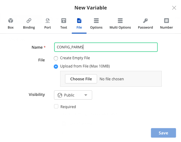 Adding File type variable