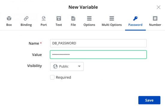 Adding Password type variable