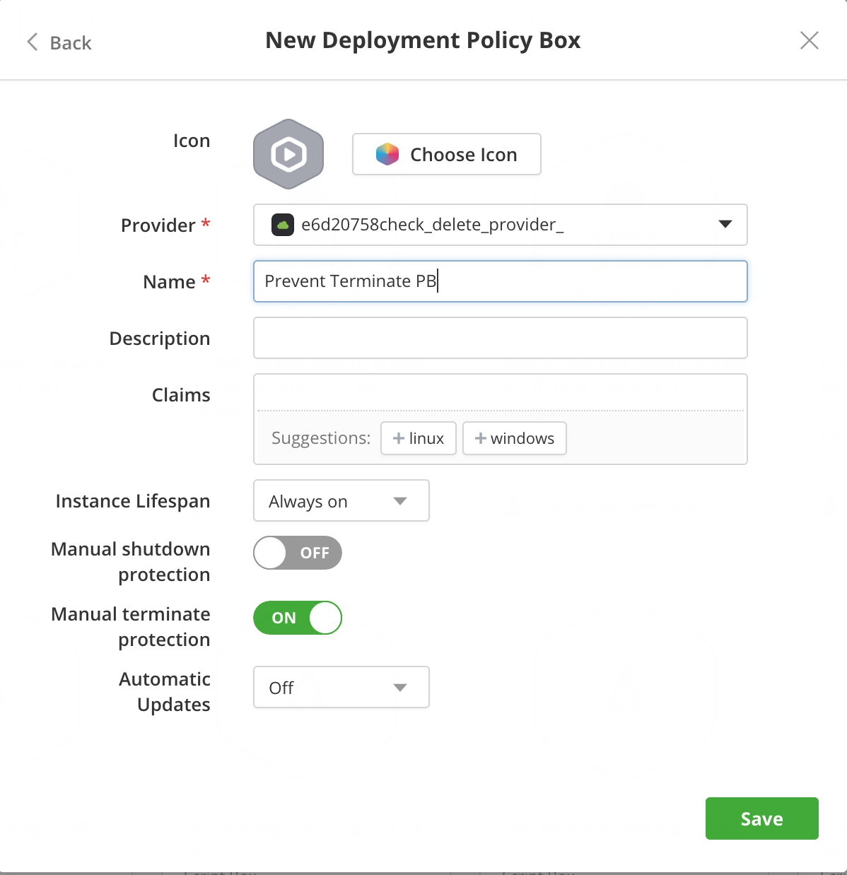 Deployment Policy Box Dialog