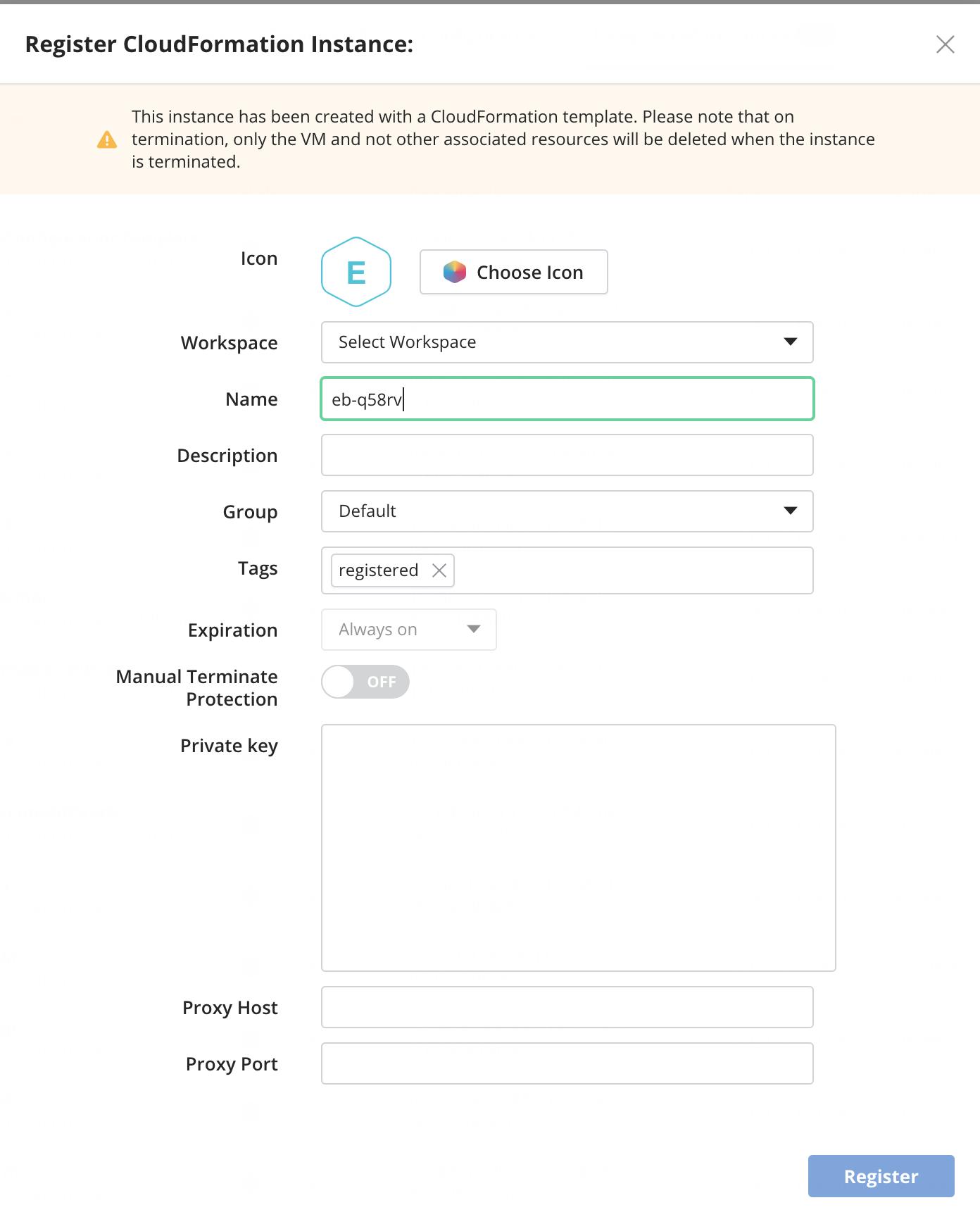 Register Instance