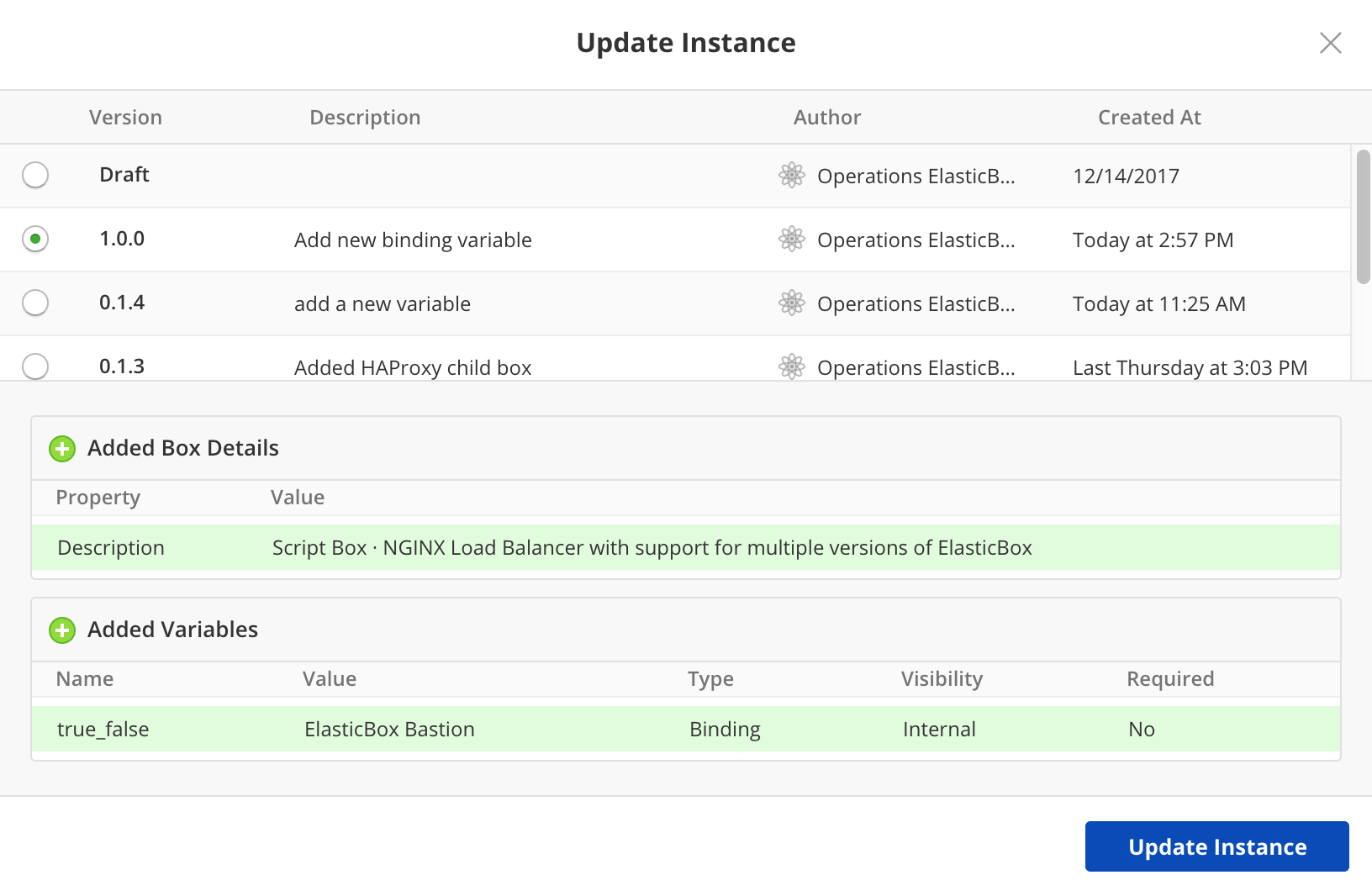 Version control - Update instance modal