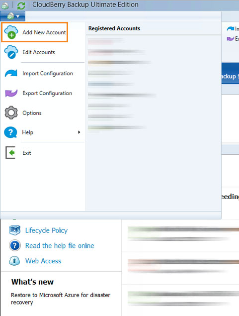 Cloudberry Ultimate edition - add new account