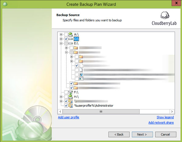 Cloudberry Ultimate - backup source