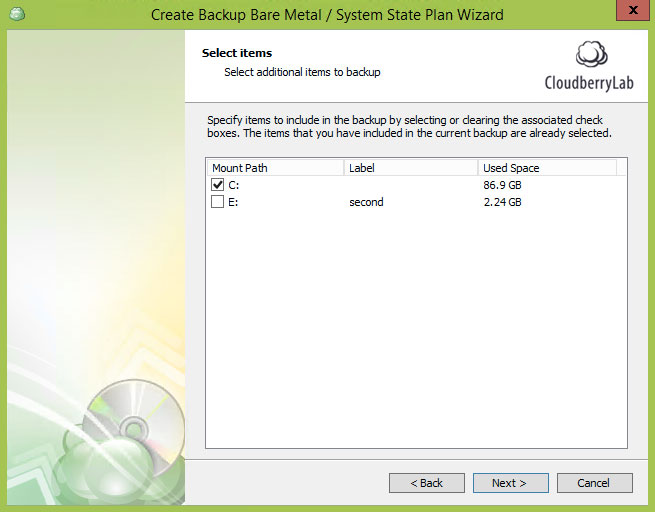 Cloudberry Ultimate - select items for system state backup