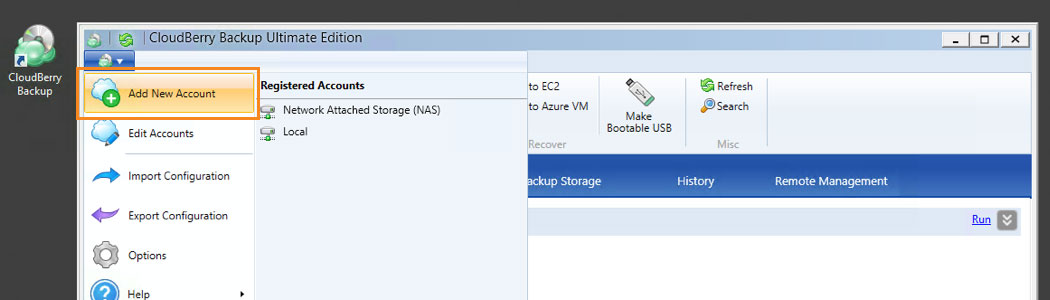 Cloudberry Ultimate backup - Acc New Account