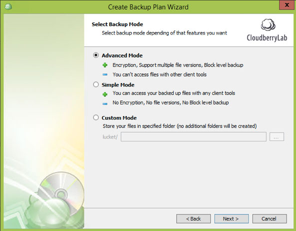 Cloudberry Ultimate - backup mode
