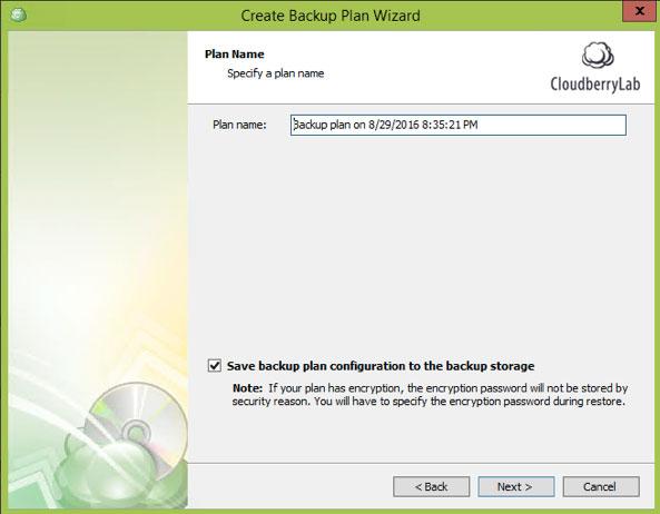 Cloudberrylab Ultimate - backup plan name