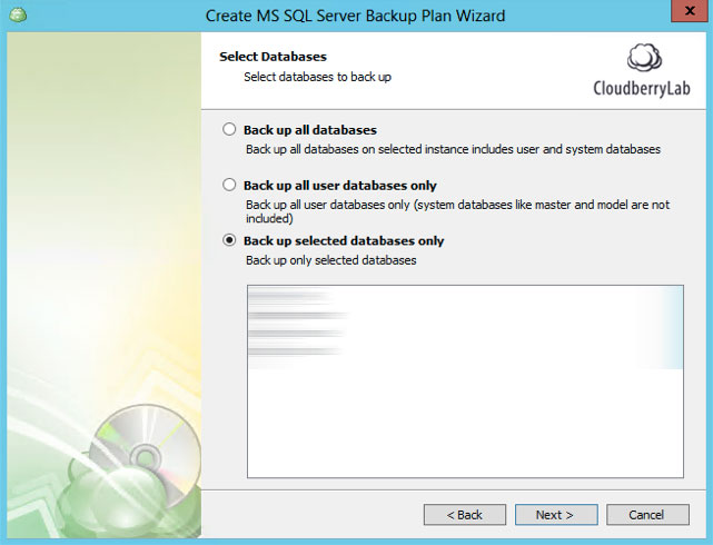 Cloudberry Ultimate - select DB to backup