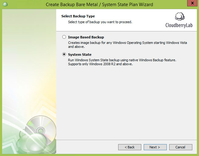 Cloudberry Ultimate - System state backup