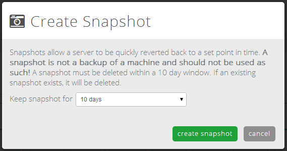 choose snapshot lifespan