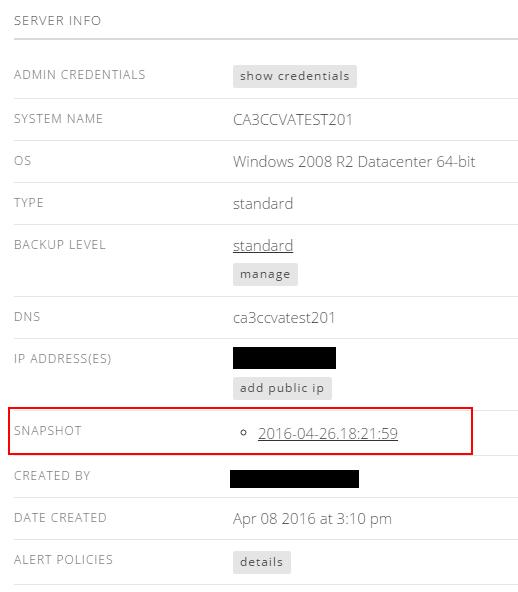 snapshot server details