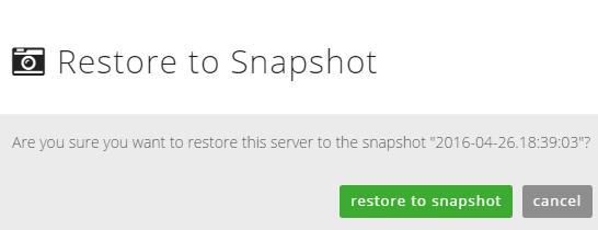 restore snapshot dialog box