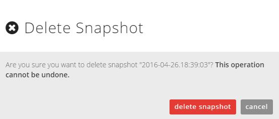 confirm delete snapshot dialog box