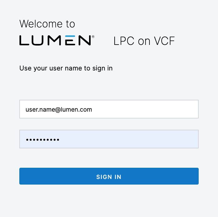 Login to CenturyLink Private Cloud on VMware Cloud Foundation