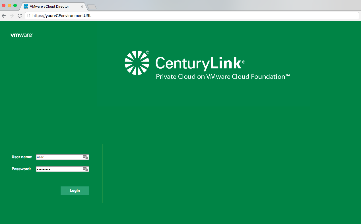 Login to Lumen Private Cloud on VMware Cloud Foundation