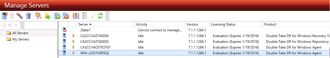 DT console DR manage servers idle