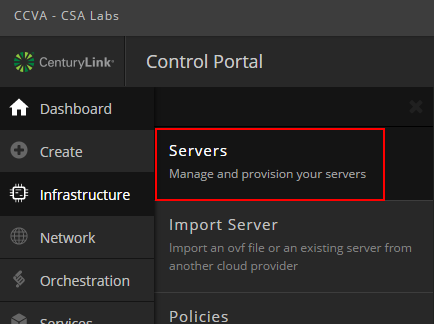 servers menu in control portal
