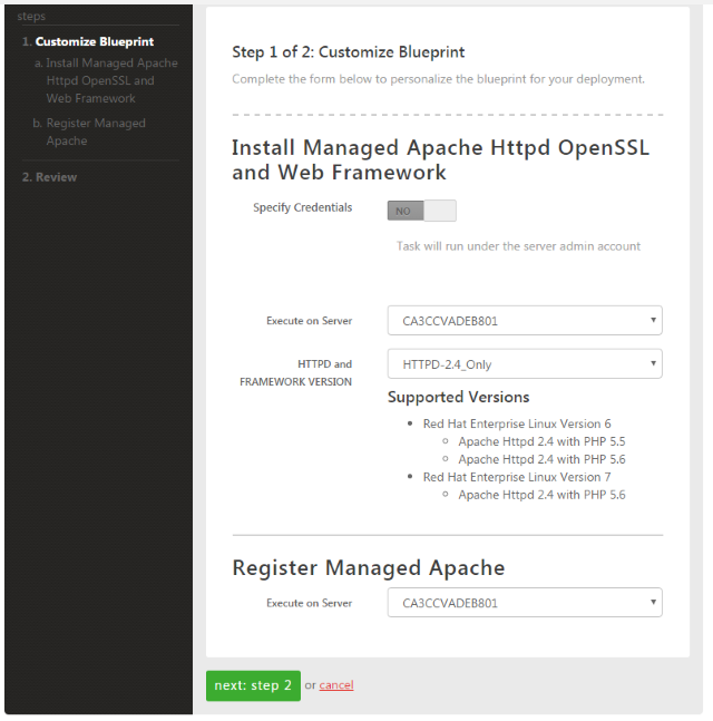 managed apache step 2