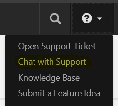 Chat with support