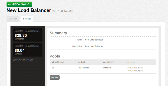 Summary screen with the load balancer VIP and one pool configured