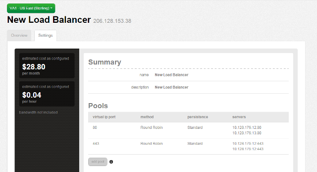 Summary screen for the load balancer with two pools configured