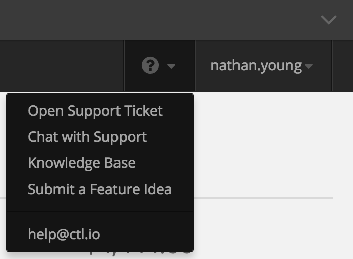 Screenshot of the support options in the new Control Portal navigation bar