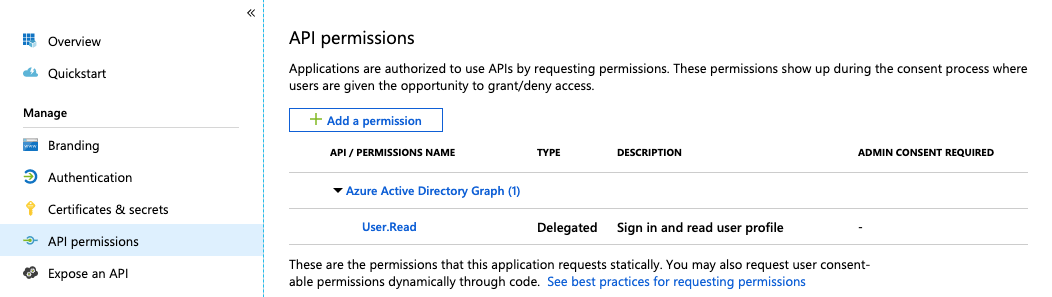 MS Azure Services add permission