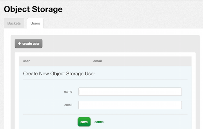 Object Storage Create User