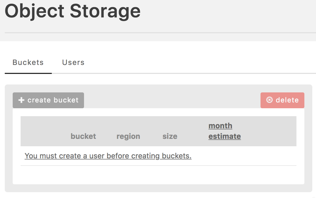 Object Storage No Buckets View
