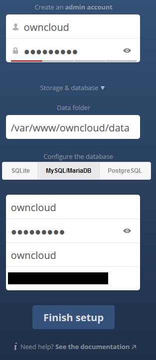 ownCloud database input