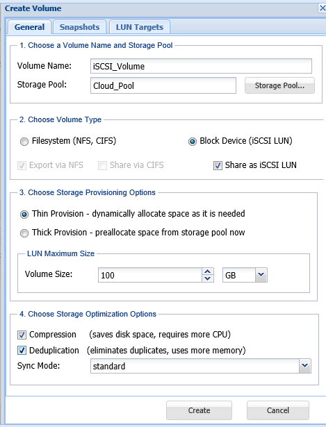 create iscsi volume