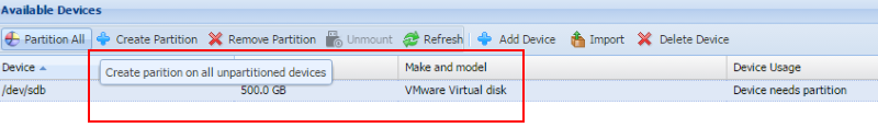 create partitions on cache file disk
